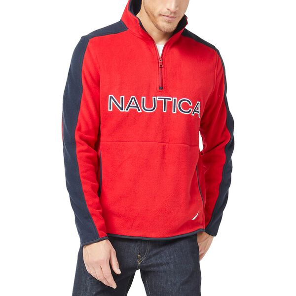 Nautex Logo  Half-Zip Fleece, Nautica Red, hi-res