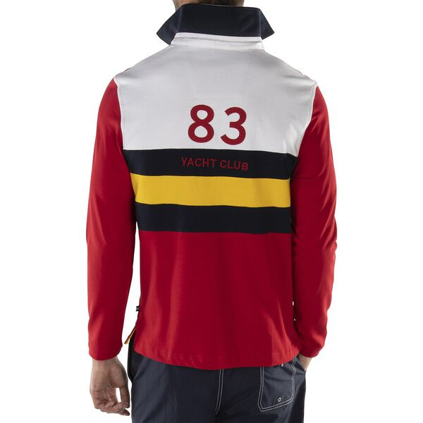 CHEST STRIPE YACHTING RUGBY, NAUTICA RED, hi-res