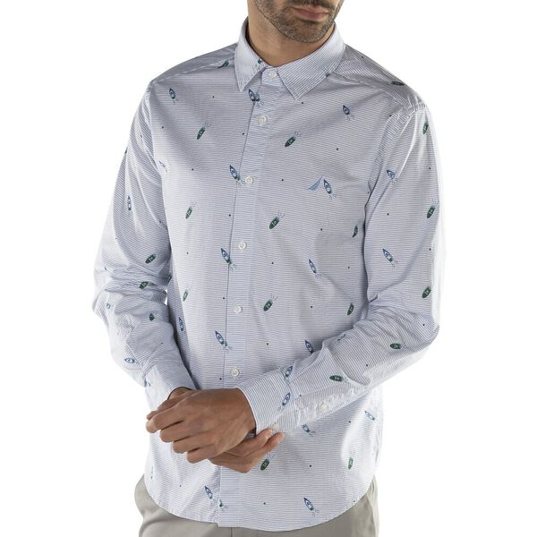 Oxford Classic Fit Geometric Speedboat Print Stripe Shirt, Rivera Blue, hi-res
