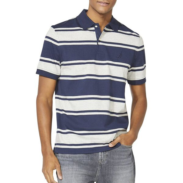 Classic Fit Striped Polo, Navy, hi-res