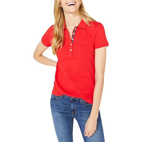 Classic Fit Chambray Collar Polo, Rescue Red, hi-res