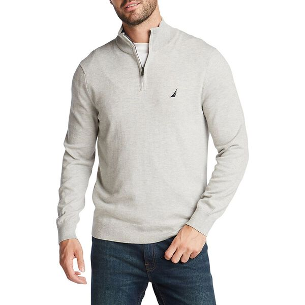 1/4 Zip Navtech Mock Neck Sweater, Grey Heather, hi-res