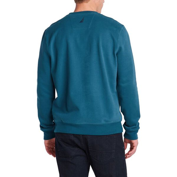 FLEECED GRAPHIC CREW SWEATER, BLUE CORAL, hi-res