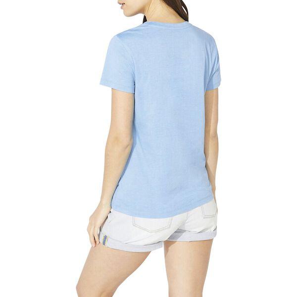 Cotton Solid V-Neck Tee, Della Robbia Blue, hi-res