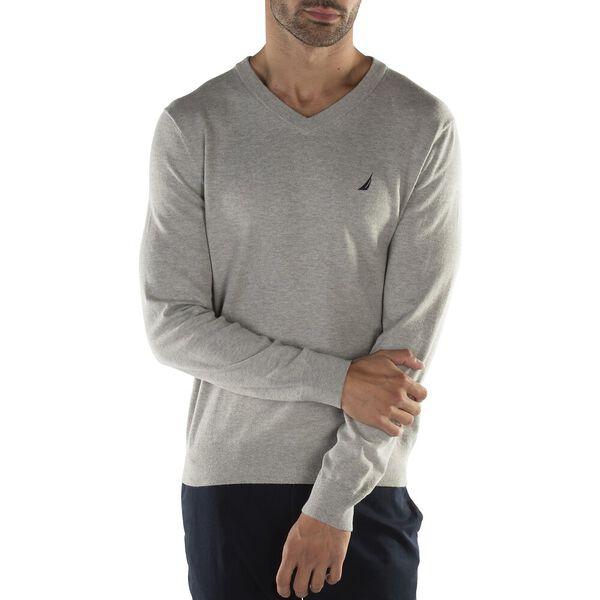 Big & Tall Navtech V Neck Sweater, Grey Heather, hi-res