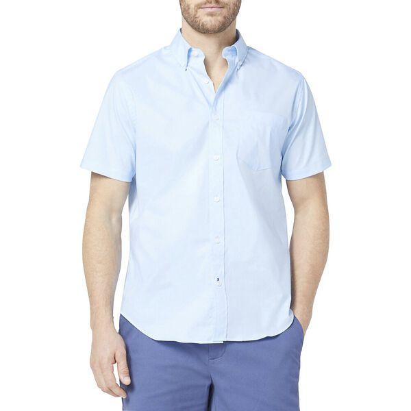 Classic Fit Wrinkle-Resistant Short Sleeve Shirt Blue, Azure Blue, hi-res