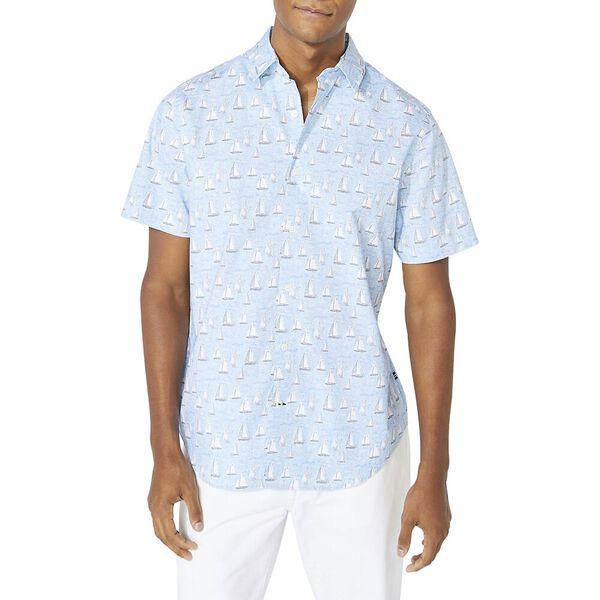 Classic Fit Navtech Boat Print Shirt, Varisty Wash Blue, hi-res
