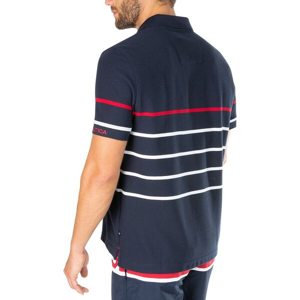Sustainably Crafted Colour Stripe Polo, Navy, hi-res