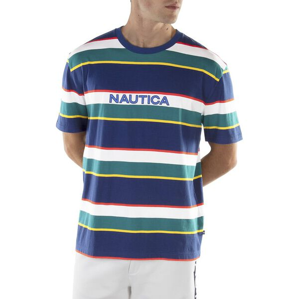 MULTI STRIPE EMBROIDERED TEE