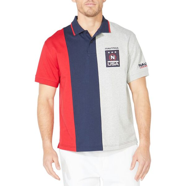 Vertical Colourblock Badge Polo Shirt, Bright White, hi-res