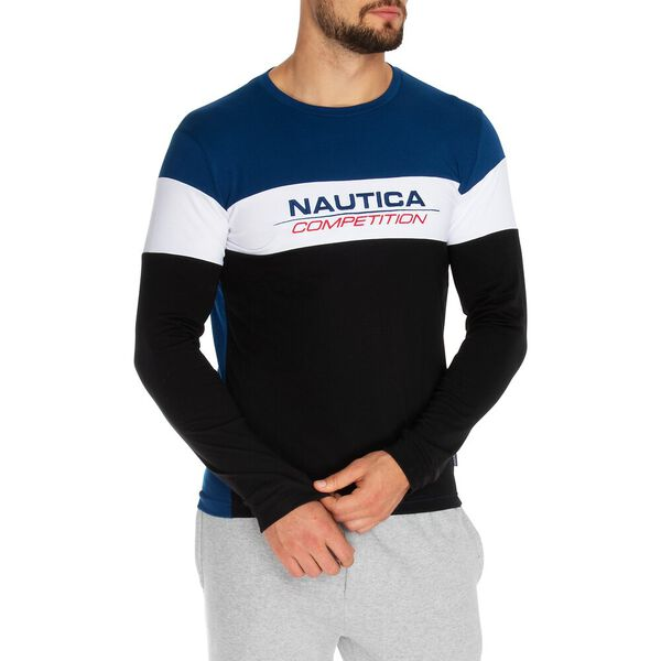 NAUTICA COMPETITION TRI-COLOUR PANELLED LONG SLEEVE TEE
