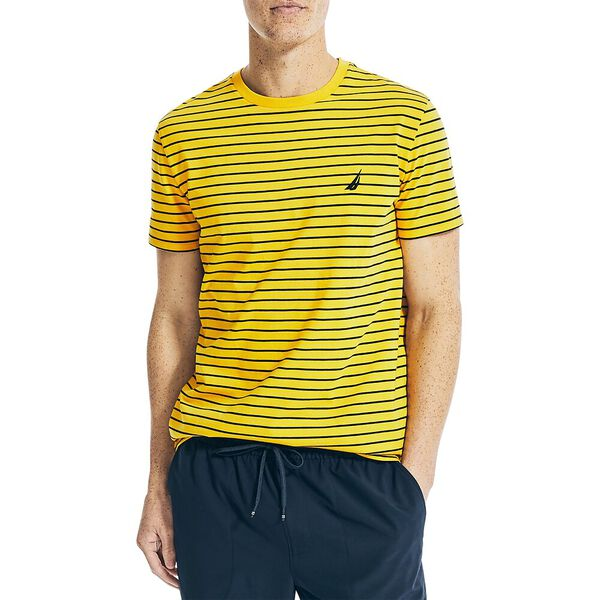 Striped Jersey Tee, Old Gold, hi-res