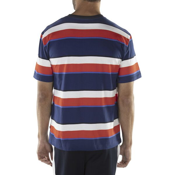 MULTI STRIPE EMBROIDERED TEE, TRUE NAVY, hi-res
