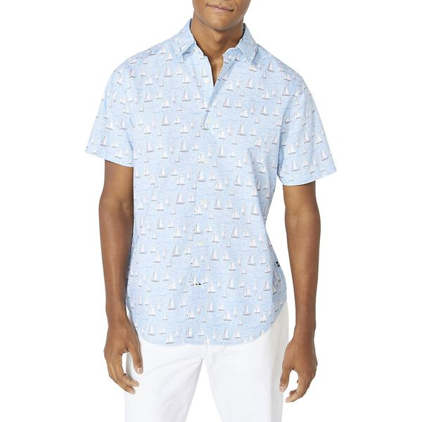 Classic Fit Navtech Boat Print Shirt, Varisty Wash Blue, hi-res