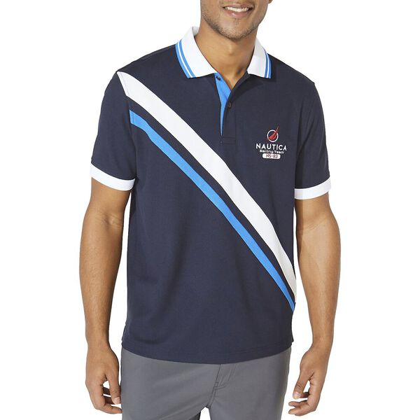 Classic Fit Diagonal Block Polo, Navy, hi-res