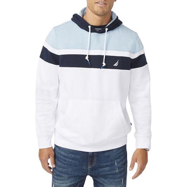 Slim Fit Colourblock Pullover Hoodie, Bright White, hi-res