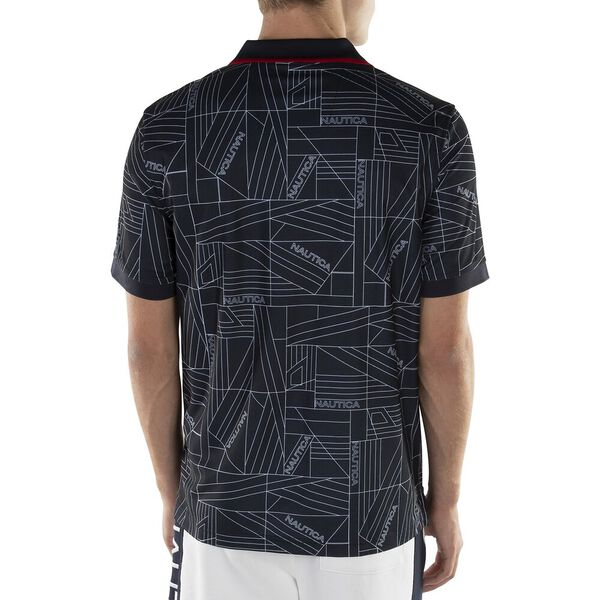 CLASSIC FIT PRINTED N-83 PERFORMANCE POLO, NAVY, hi-res