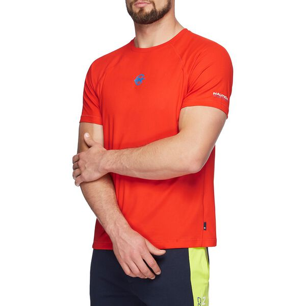 NAUTICA COMPETITION COOLIING SHORT SLEEVE TEE, FIERY RED, hi-res