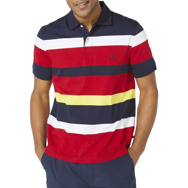 Classic Fit Varisty Engineered Stripe Polo, Navy, hi-res
