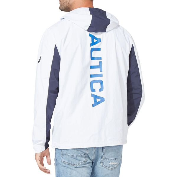 NAUTICA COLOURBLOCKED BOMBER STYLE HOODED PULLOVER, Bright White, hi-res