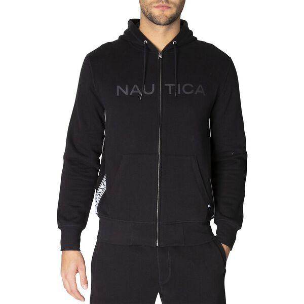 Nautica Logo Taping Full Zip Hoodie, True Black, hi-res