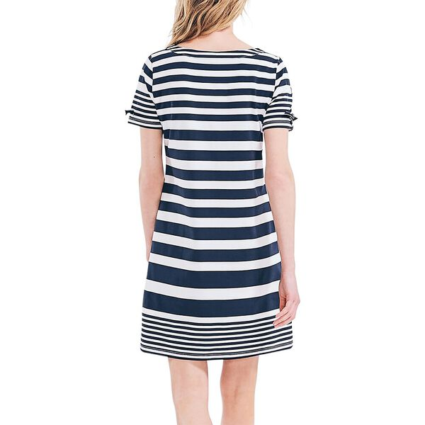 Sustainably Crafted Band Striped Dress, Navy Seas, hi-res