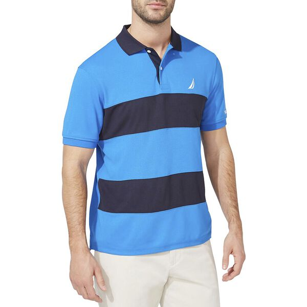 Navtech Classic Fit Rugby Stripe Polo, Spinner Blue, hi-res