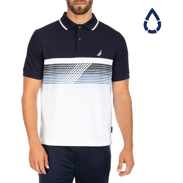 Sustainably Crafted Navtech Printed Gradient Polo, Navy, hi-res