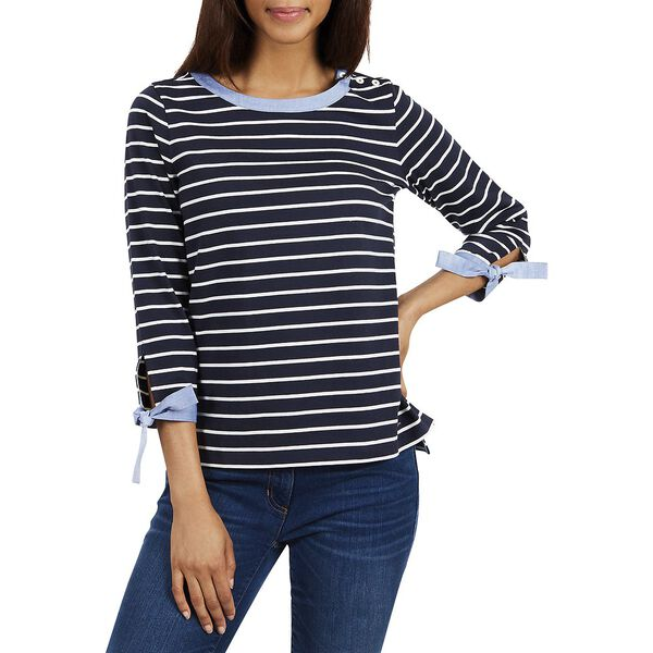 TIE CUFF STRIPED TOP