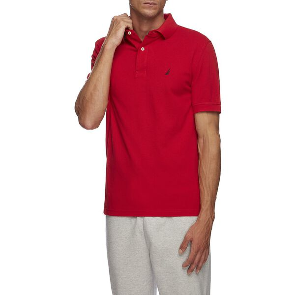 Short Sleeve Solid Polo, FLARE RED, hi-res