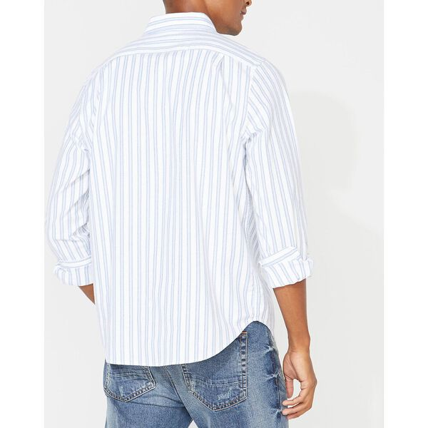 Classic Fit Long Sleeve Striped Oxford Shirt, Bright White, hi-res