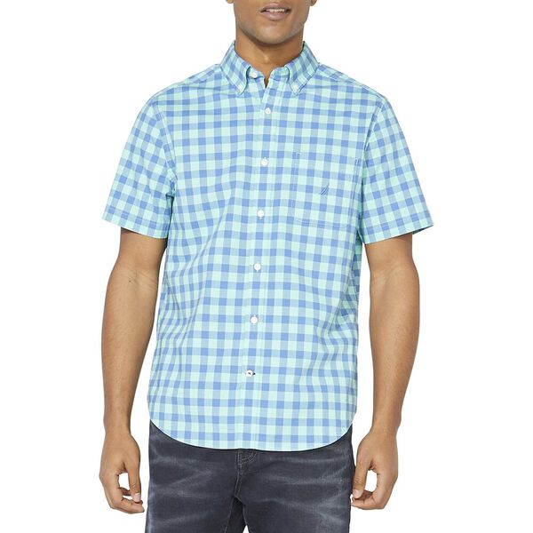 Classic Fit Plaid Poplin Short Sleeve Shirt, Mint Sprig, hi-res