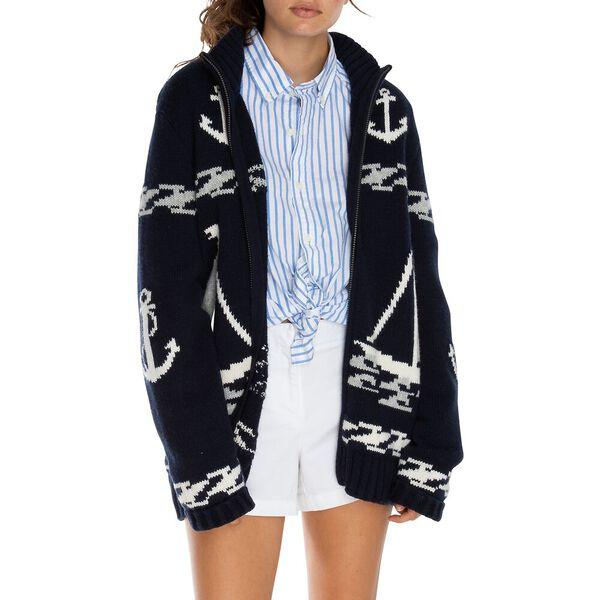 Full Zip Sailboat Jacquard Sweater, Navy, hi-res