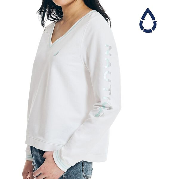 Sustainably Crafted Swing Hem Sweater, Bright White, hi-res
