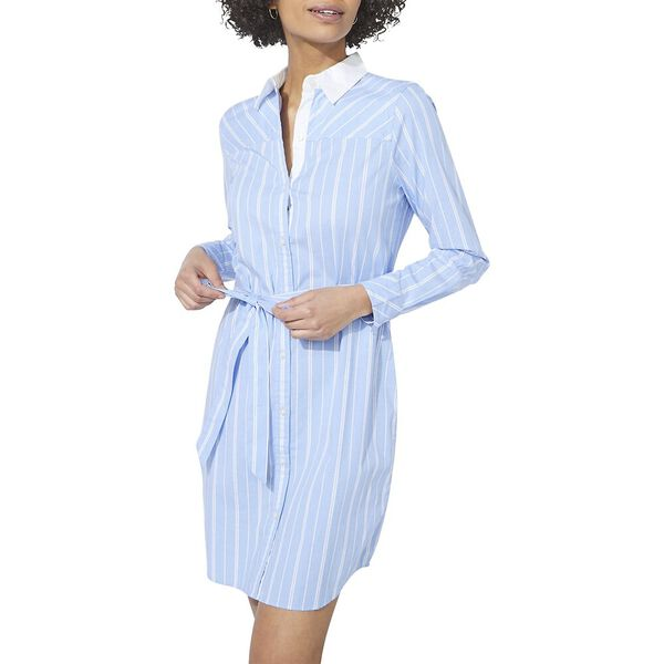Isabella Striped Belt-Accented Shirtdress