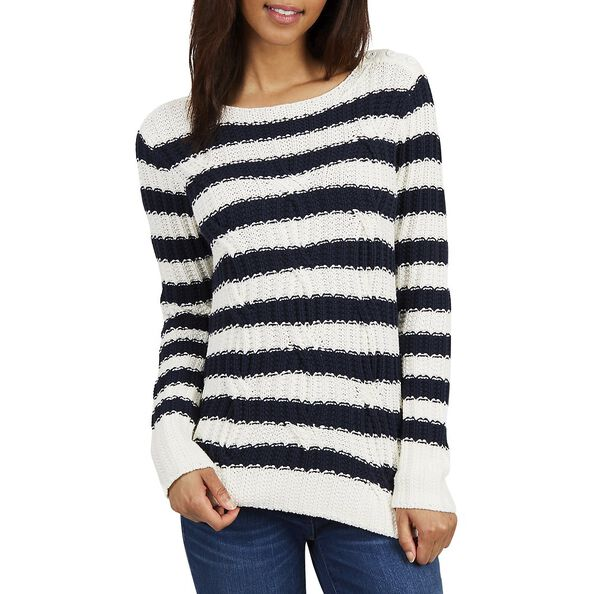 STRIPED CABLE KNIT SWEATER, MARSHMELLOW, hi-res
