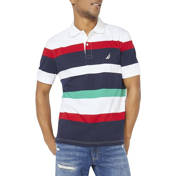 Classic Fit Varisty Engineered Stripe Polo, Bright White, hi-res