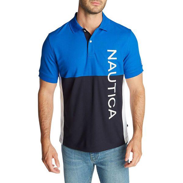 Side Panel Polo Shirt With Logo, Bright Nautica Blue, hi-res