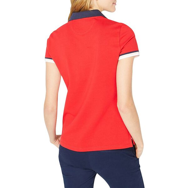 Colourblock Contrast Collar Sporty Polo, Bright Red, hi-res
