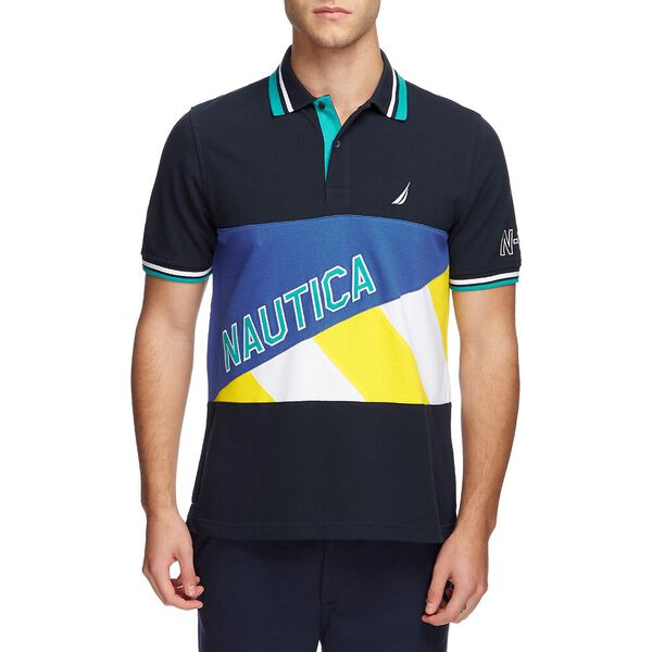 BLUE SAIL HYDRO RACE NAVTECH PIECED POLO