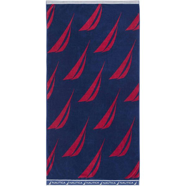 Spinnaker Jacquard Beach Towel Americana, Blue/Red, hi-res