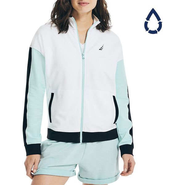 Sustainably Crafted Full Zip Track Jacket, Bright White, hi-res