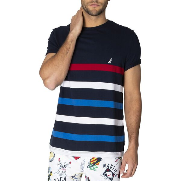 Bay League Stripe Tee, Navy, hi-res