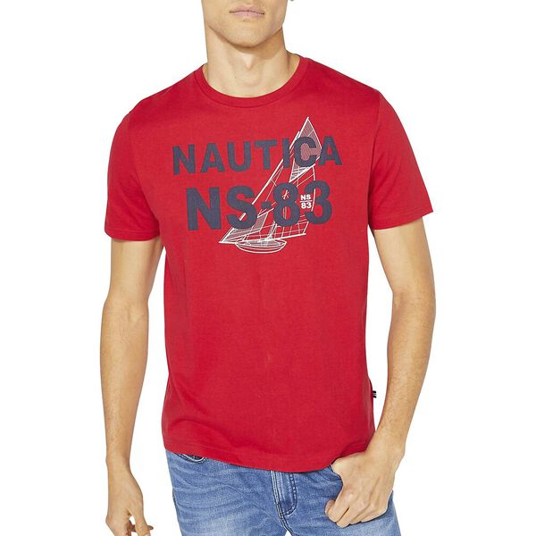 Nautica Logo Graphic Tee, Nautica Red, hi-res