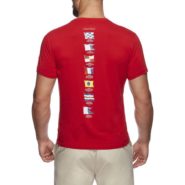 Short Sleeve Anchor Flag Graphic T-Shirt, Flare Red, hi-res