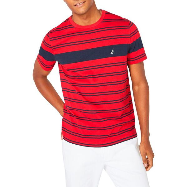 Crew Neck Stripe Tee, Nautica Red, hi-res