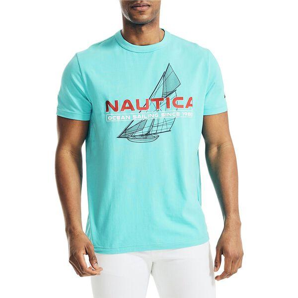 Nautica Ocean Sailing Geometric Tee, Scuba Blue, hi-res