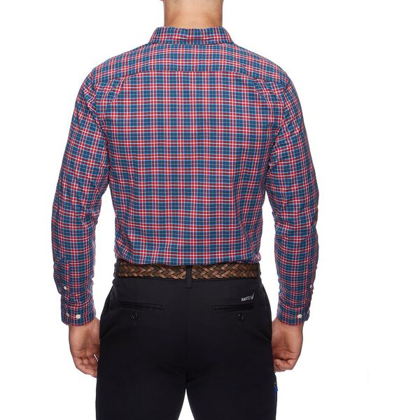 NAVTECH PLAID LONG SLEEVE SHIRT, RESCUE RED, hi-res