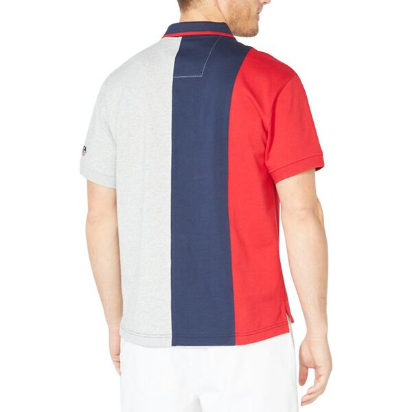 Vertical Colourblock Badge Polo Shirt, Navy, hi-res
