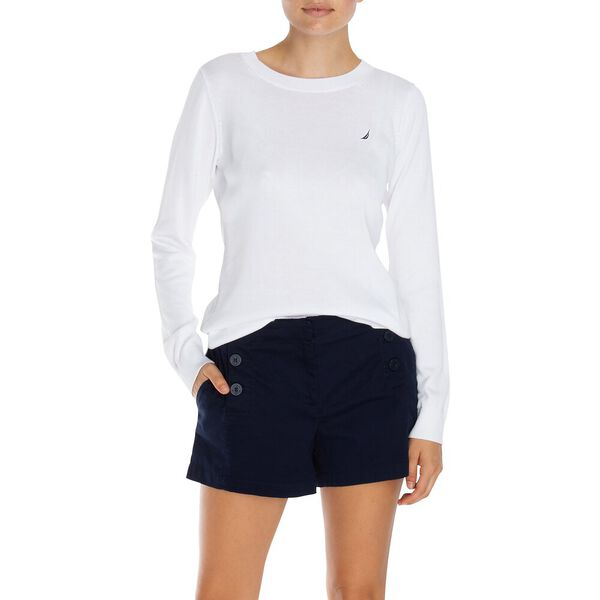 Cotton Crewneck Sweater, Bright White, hi-res